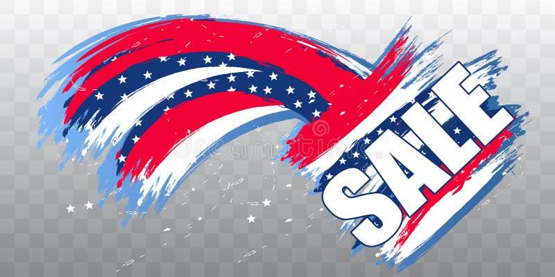 Venda para Dia da Independência EUA o 4 de julho para o cartaz ou a bandeira Elemento do projeto moderno no fundo transparente Ve ilustração stock