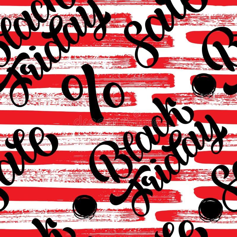 Venda, por cento, sexta-feira preta, teste padrão do texto - entregue as palavras e a rotulação tiradas, textura sem emenda para  ilustração stock