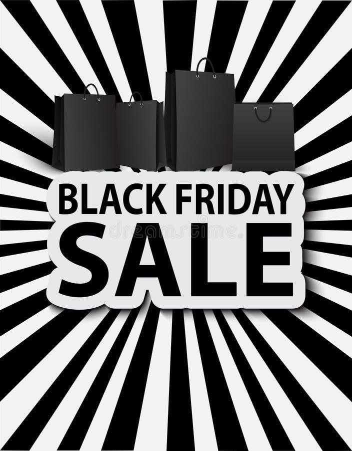 Venda preta de sexta-feira com sacos de compras. Venda do cartaz ilustração royalty free