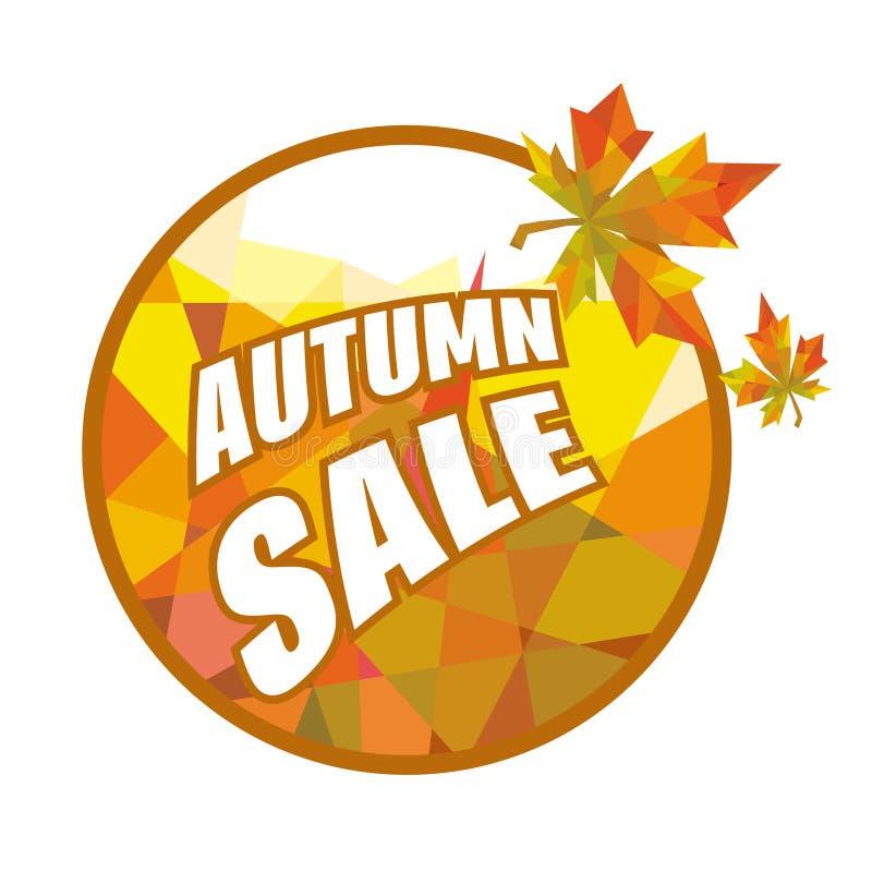 Venda redonda do outono da etiqueta com folhas ilustração royalty free