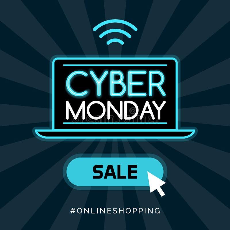 Venda relativa à promoção de segunda-feira do Cyber ilustração stock