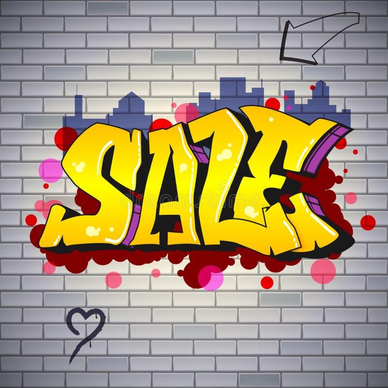 Venda, rotulando no hip-hop, estilo dos grafittis Arte da rua na parede de tijolo Cartaz urbano do anúncio Anúncio sobre disconto ilustração do vetor