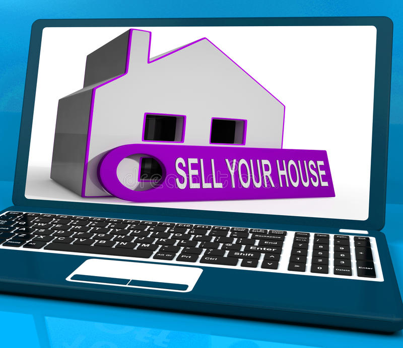 Venda su propiedad de los medios del ordenador portátil del hogar de la casa disponible para los compradores ilustración del vector