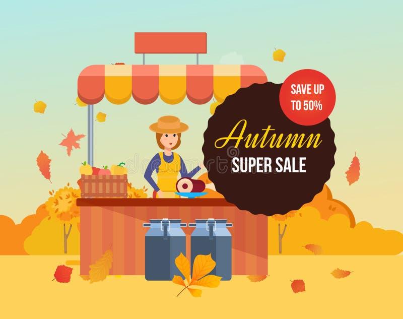 Venda super do outono Fazendeiro da menina no alimento contrário do eco das vendas ilustração do vetor