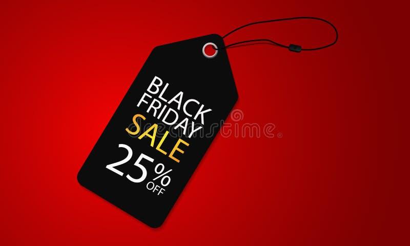 Venda super preta de sexta-feira na bandeira simples e luxuosa da ilustração do vetor do molde da etiqueta ilustração stock