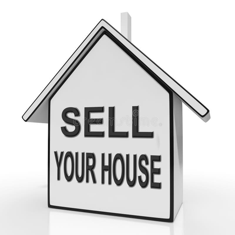 Venda sus demostraciones del hogar de la casa que enumeran Real Estate stock de ilustración