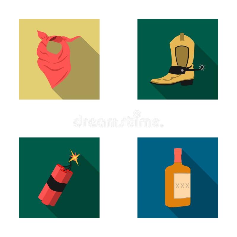 Vendaje, botas, dinamita y una botella de whisky Los iconos determinados de la colección del oeste salvaje en estilo plano vector stock de ilustración