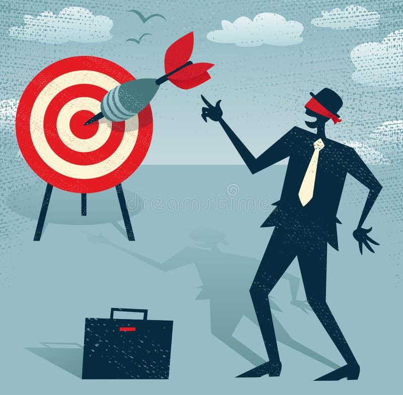 Vendan los ojos de al hombre de negocios abstracto con el dardo. stock de ilustración