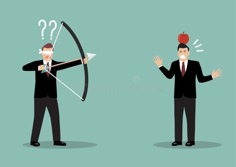 Vendar os olhos o homem de negócios que aponta disparar na maçã em um outro homem ilustração do vetor