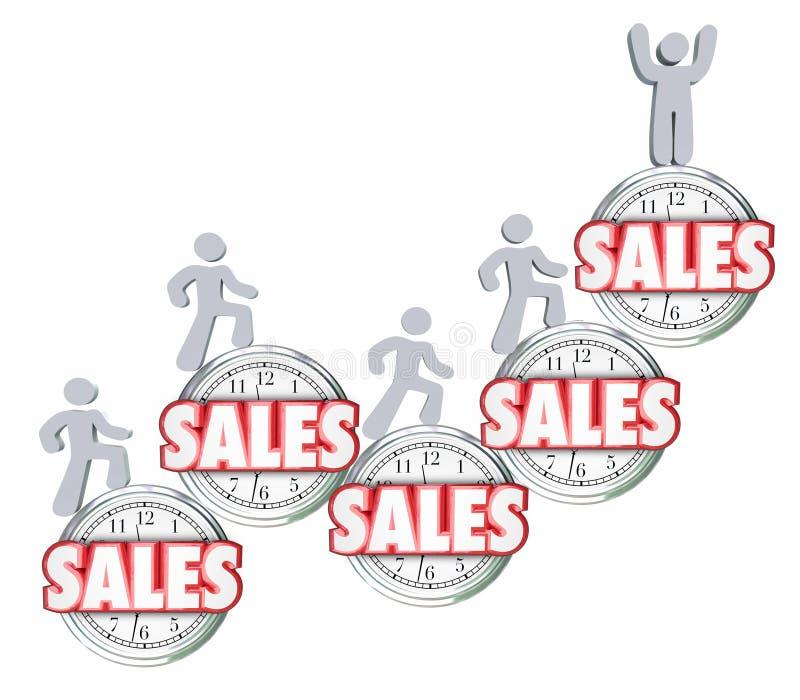 Vendas ao longo do tempo que vendem os produtos que conseguem alcançando a quota superior ilustração stock