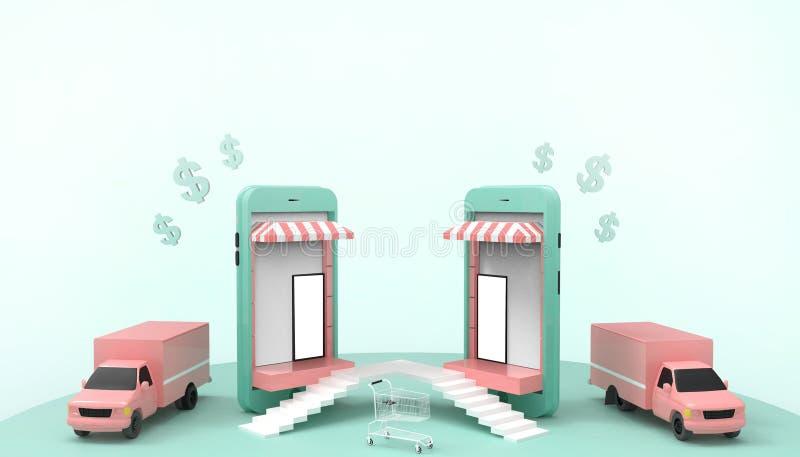 Vendas de compra em linha no Web site ou na aplicação móvel e conceito de mercado em férias de verão - fundo verde pastel de Digi ilustração do vetor