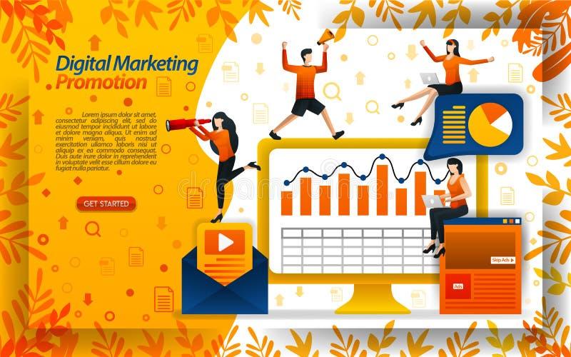 Vendas do aumento com vídeos de mercado digitais, promoções em linha, boletins de notícias do e-mail, ilustration do vetor do con ilustração royalty free