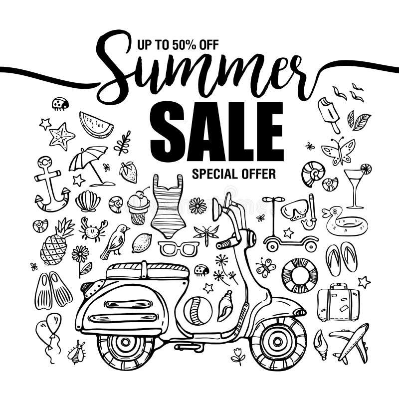 Vendas do verão do cartaz, grupo de ícones pretos e símbolos com o velomotor no fundo branco, moldes do inseto com rotulação ilustração stock