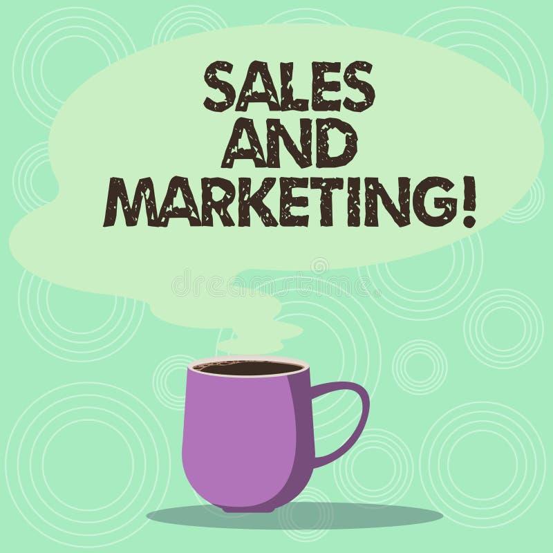 Vendas e mercado do texto da escrita As atividades de significado do conceito para vender e anunciar produtos agridem o copo da f ilustração royalty free