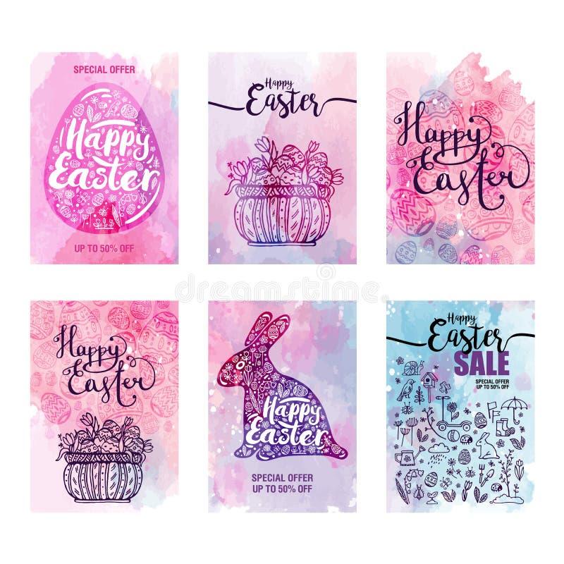 Vendas felizes da Páscoa do grupo de cartões, ícones azuis e símbolos, coelho, ovo, cesta com os ovos no fundo da aquarela, tipog ilustração do vetor