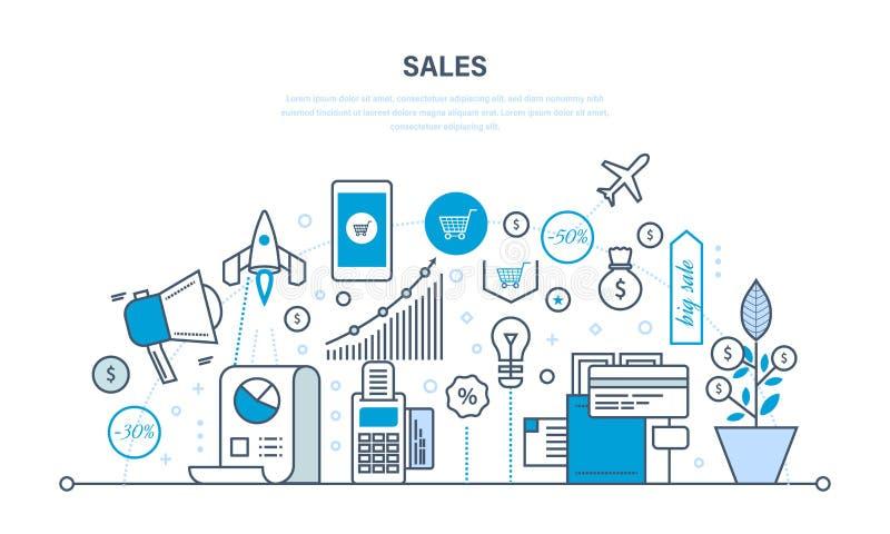 Vendas, investimento, crescimento financeiro, métodos e maneiras aumentar o rendimento ilustração stock
