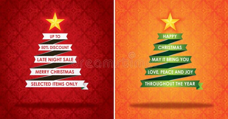 Vendas que introduzem no mercado a bandeira e o cartão do Natal ilustração do vetor