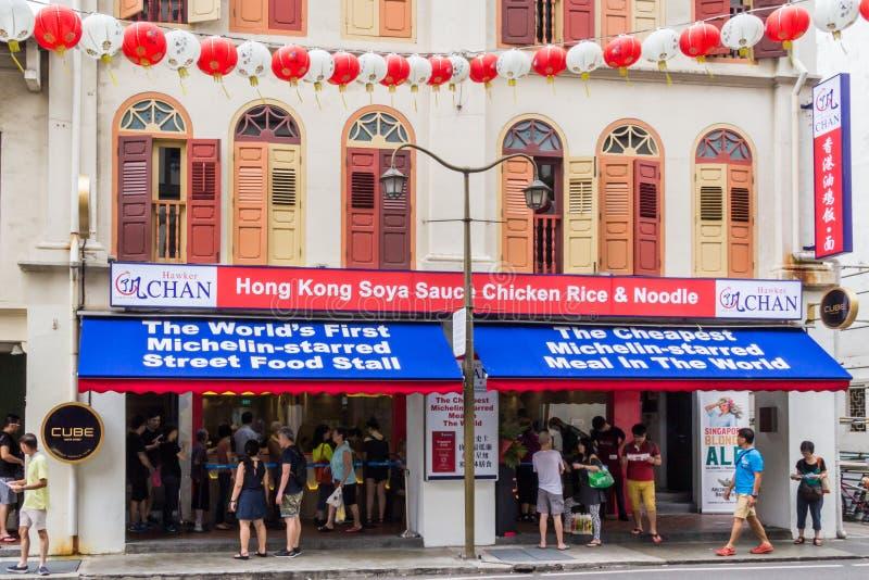 Vendedor ambulante Chan um restaurante de Michelin da estrela foto de stock