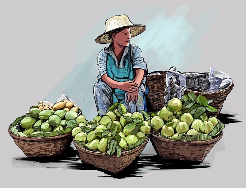 Vendedor ambulante do fruto em Banguecoque Tailândia ilustração royalty free