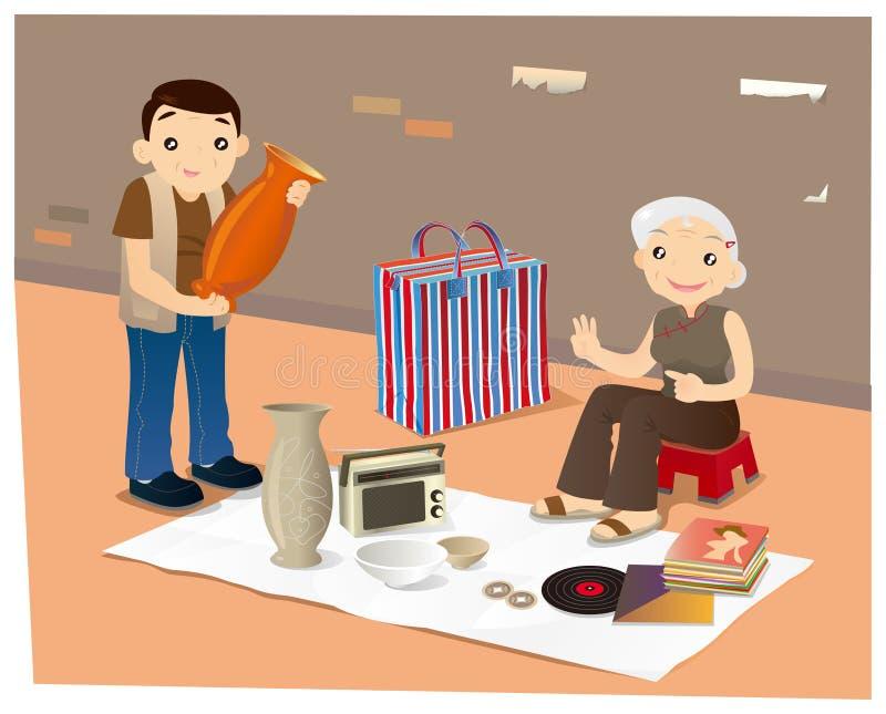 Vendedor ambulante dos bens de segunda mão em Hong Kong ilustração do vetor