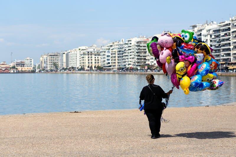 Vendedor ambulante en Salónica, Grecia foto de archivo libre de regalías