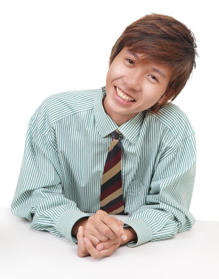 Vendedor asiático de forma convincente fotografia de stock royalty free
