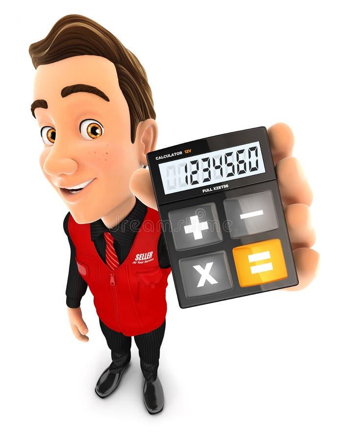 vendedor 3d que guarda a calculadora ilustração stock