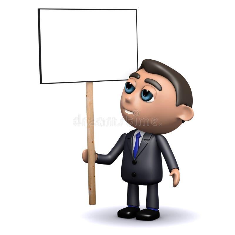 vendedor 3d que lleva a cabo un cartel en blanco ilustración del vector
