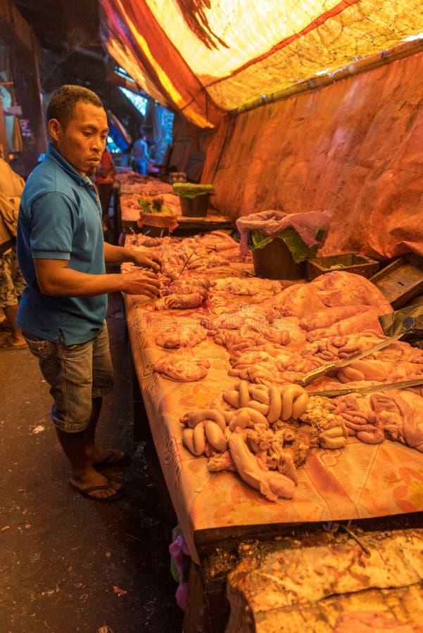 Vendedor da carne imagens de stock