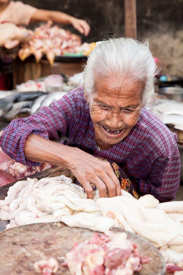 Vendedor da carne, Yangon, Myanmar fotos de stock