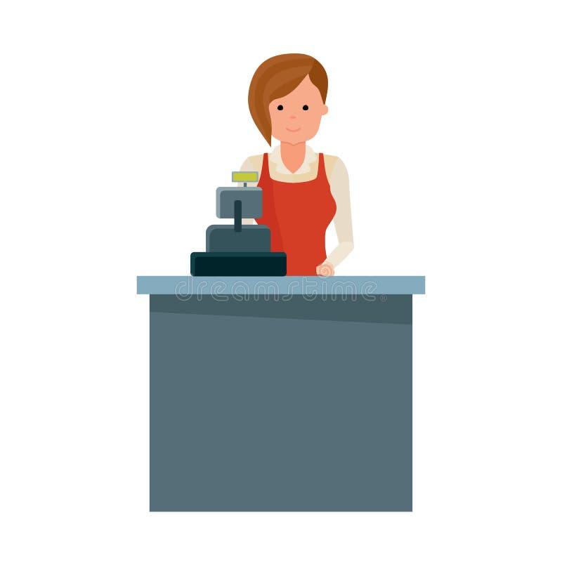 Vendedor da mercearia da menina atrás da caixa registadora ilustração royalty free