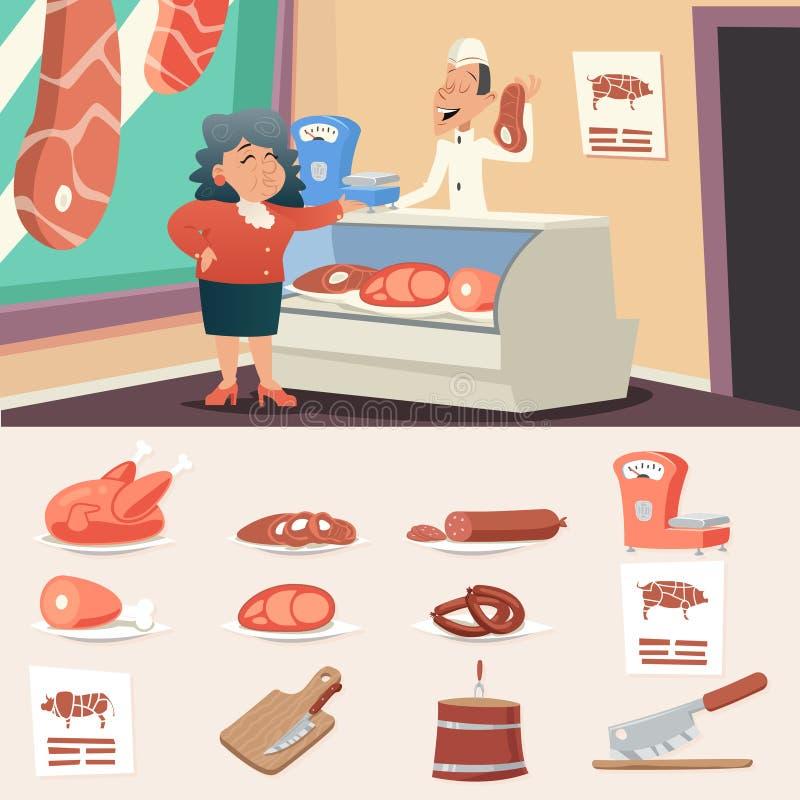 Vendedor da mulher de Shop Granny Old do carniceiro da carne retro ilustração stock