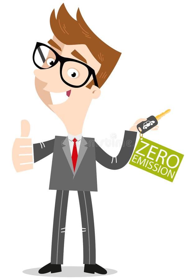 Vendedor de coches de la historieta que da los pulgares que detienen llaves del coche con la etiqueta de la cero-emisión stock de ilustración