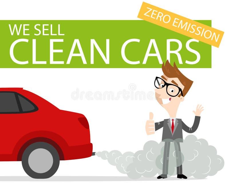 Vendedor de coches de la historieta que da los pulgares que se levantan en gas de escape con el ` vendemos la bandera limpia del  stock de ilustración
