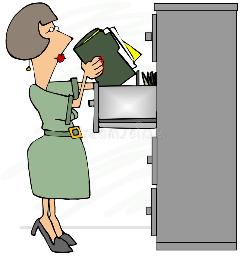 Vendedor de fichero femenino que se coloca en sus puntas del pie ilustración del vector