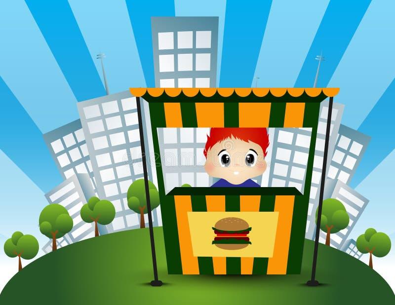 Vendedor de la hamburguesa con el fondo del edificio de la ciudad - a todo color ilustración del vector