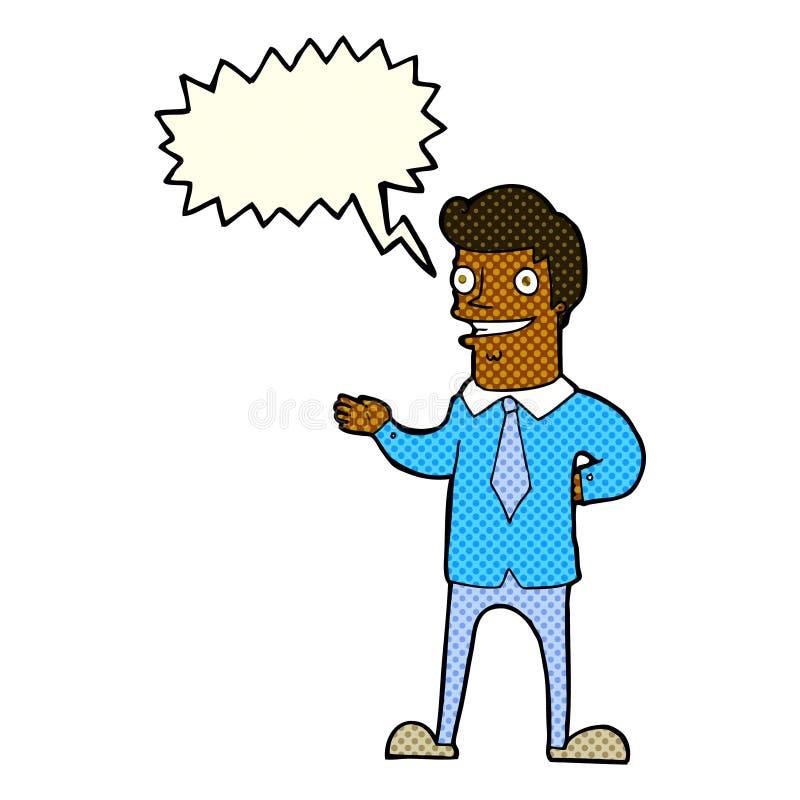 vendedor de la historieta con la burbuja del discurso stock de ilustración