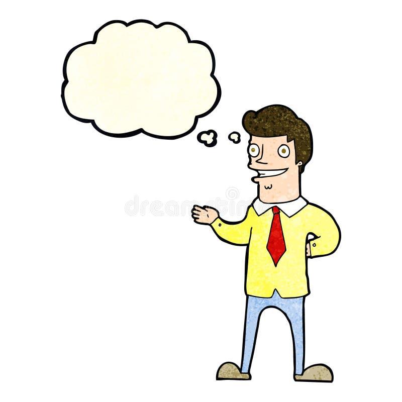 vendedor de la historieta con la burbuja del pensamiento stock de ilustración