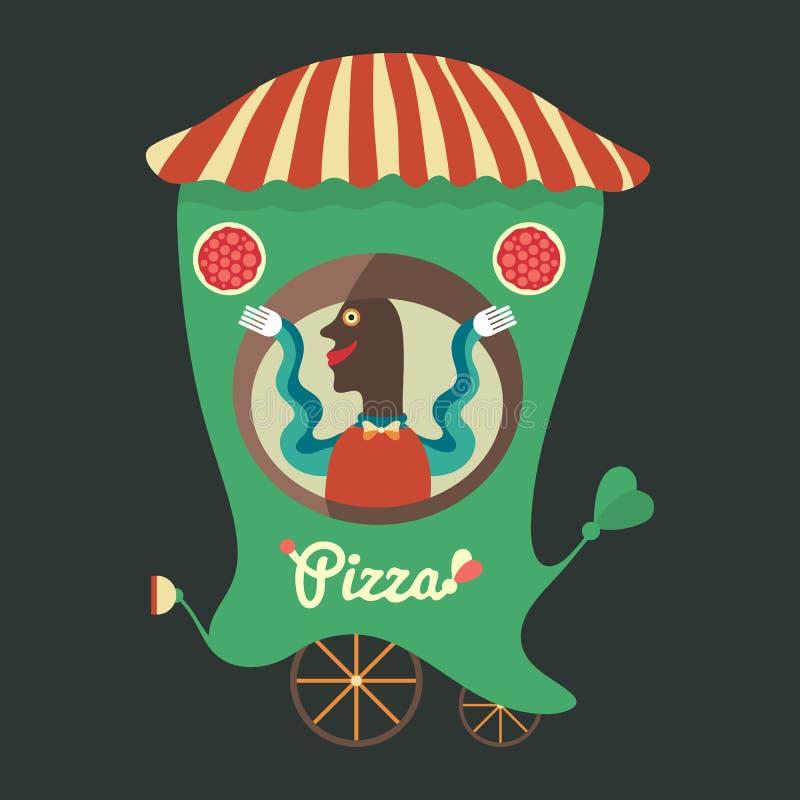 Vendedor de la pizza libre illustration
