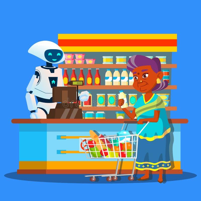 Vendedor de la raíz en tienda con el comprador cerca del cajero Vector Ilustración aislada ilustración del vector