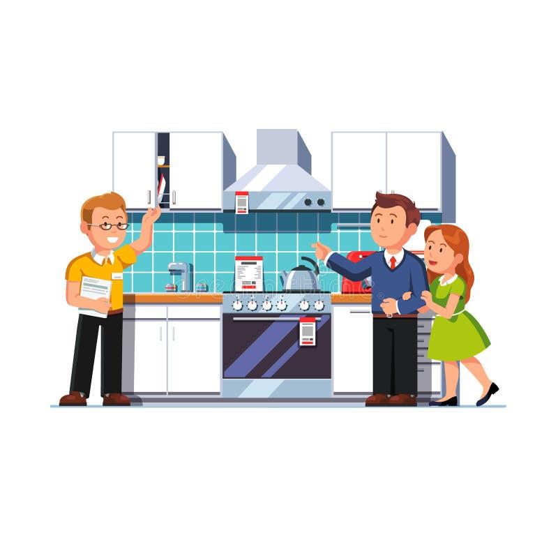 Vendedor de la tienda que muestra la cocina casera a los clientes libre illustration