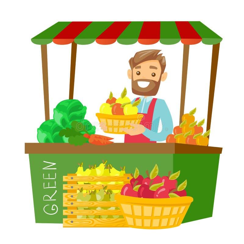 Vendedor de rua caucasiano com frutas e legumes ilustração royalty free