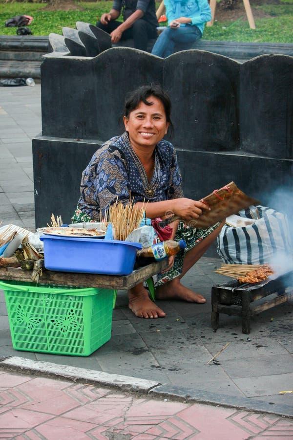Vendedor de Satay fotos de stock