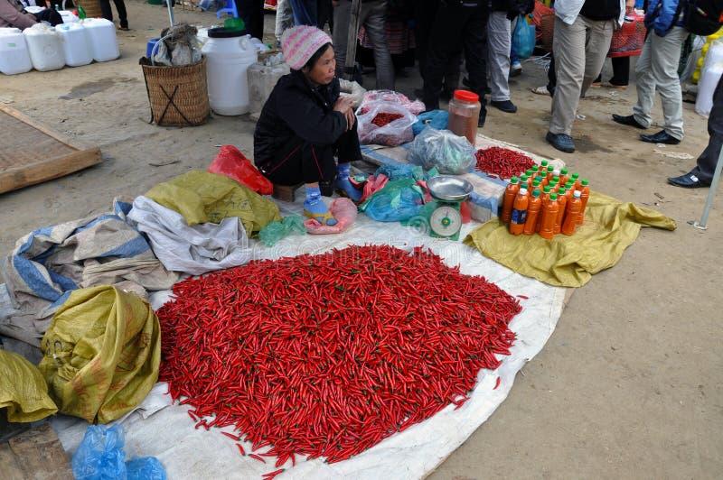 Vendedor del chile en un mercado rural. Vietnam fotos de archivo