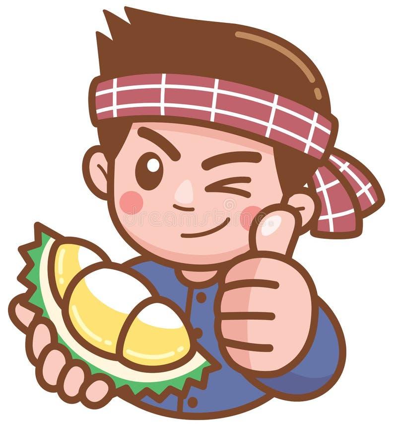 Vendedor do Durian ilustração royalty free
