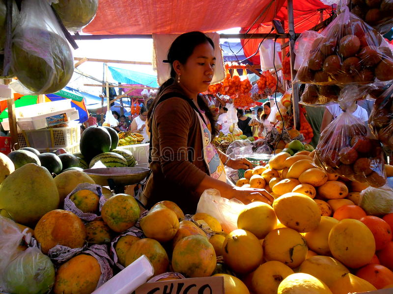 Vendedor do fruto em um mercado em Cainta, Rizal, Filipinas, Ásia fotos de stock
