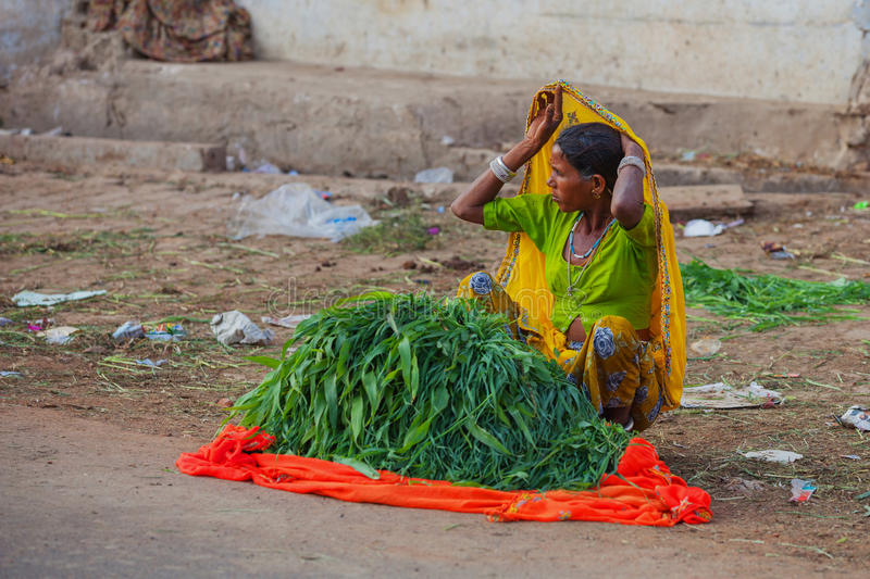 Vendedor dos verdes na rua que senta-se na terra foto de stock royalty free