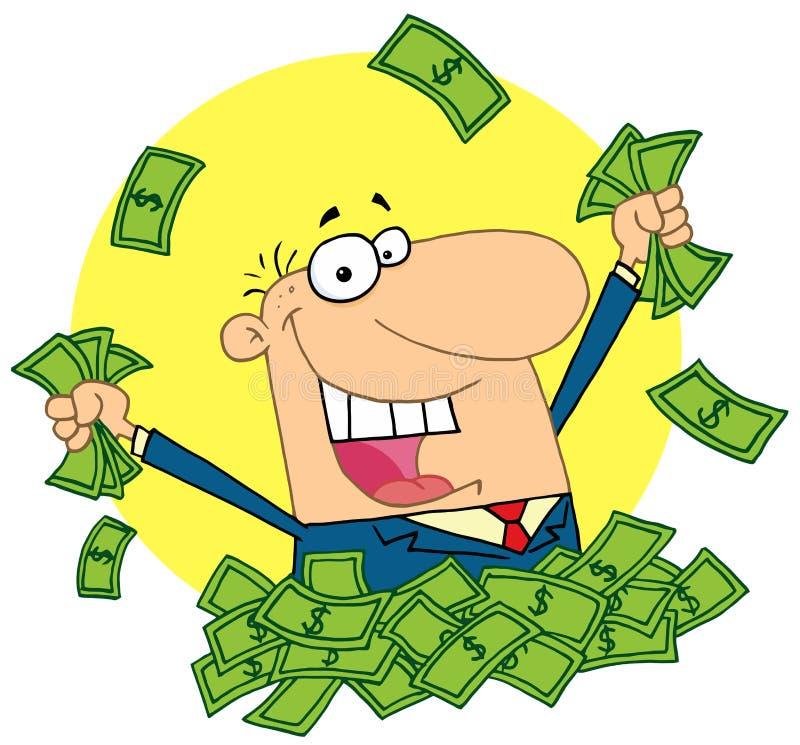 Vendedor feliz que juega en una pila de dinero libre illustration