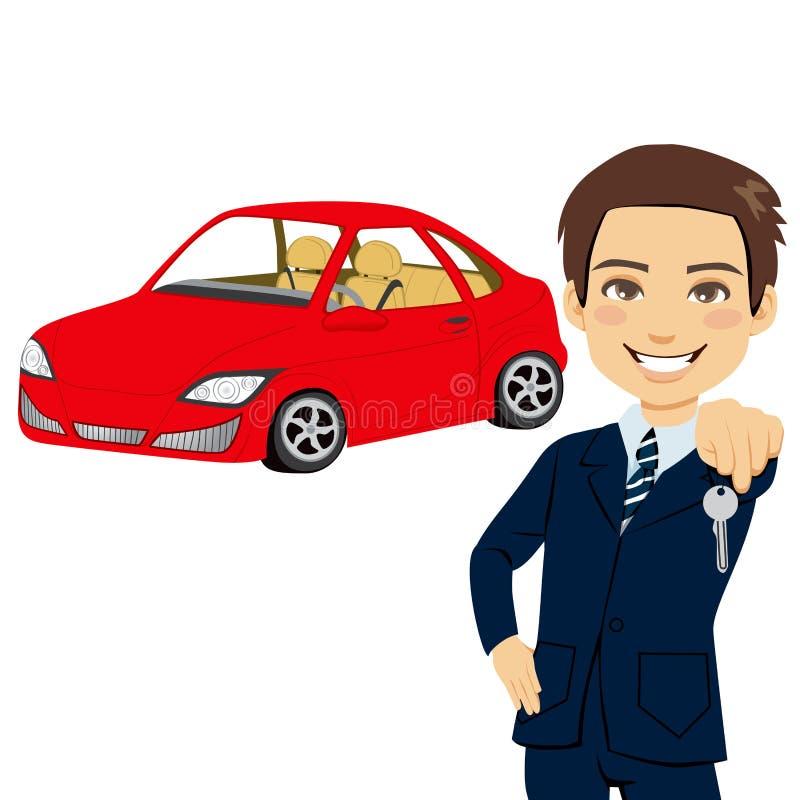Vendedor joven del automóvil ilustración del vector