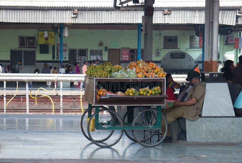 Vendedor móvil de la fruta con el carro imagen de archivo